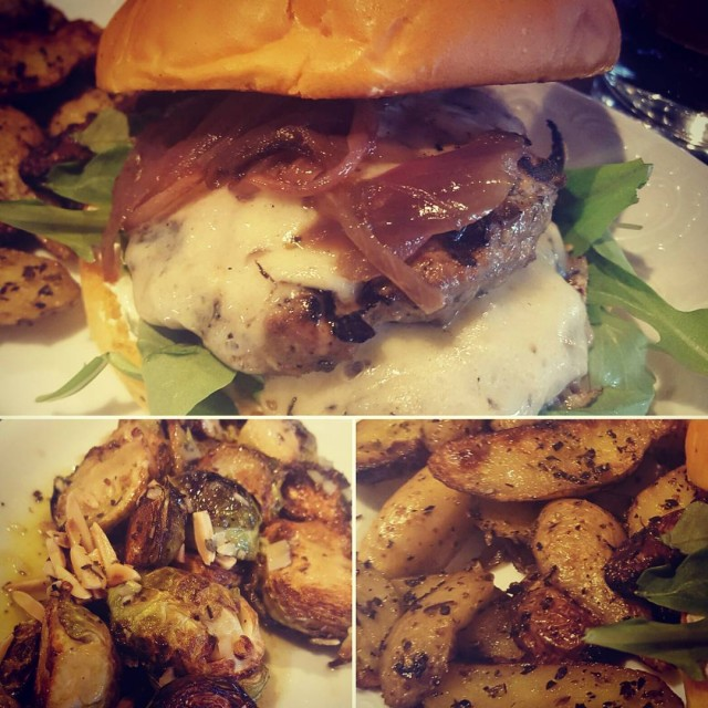 Kid Cashew for lunch today cltfood LambBurger brusselsprouts potatoes LOVED