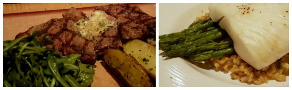 ribeye and halibut from california pizza kitchen review
